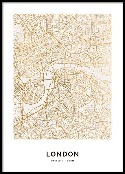 Cartina Di Londra Da Stampare.Golden London Poster Mappa Di Londra Desenio It