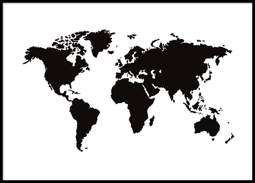 manifesto con mappa del mondo in bianco e nero quadri e