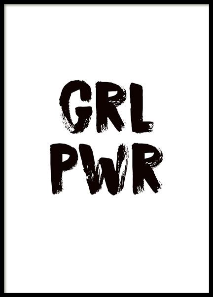Poster girlpower quadro in bianco e nero con frase - Testo gemelli diversi vai ...