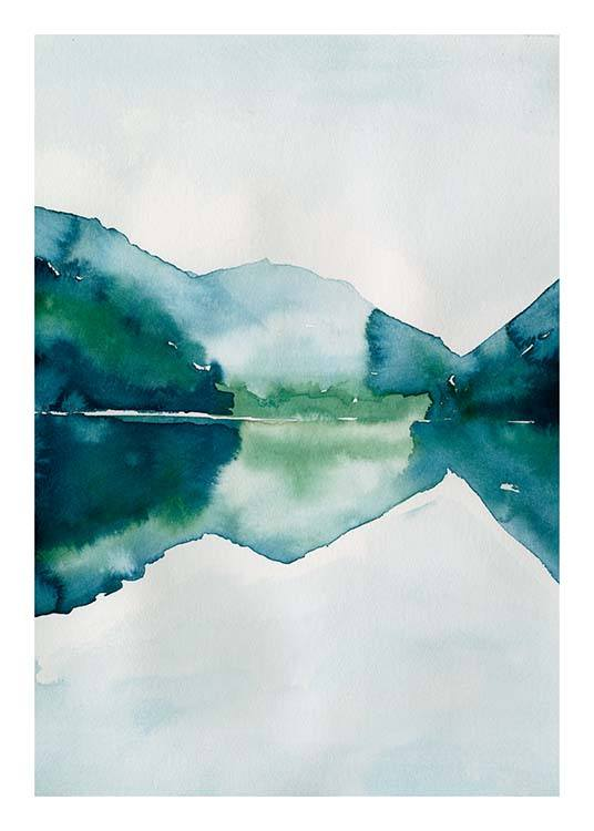 Watercolor Mountain Reflection Poster / Arte presso Desenio AB (10123)