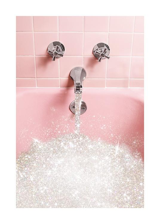 Vasca Da Bagno Rosa.Glitter Bath Poster Bagno Rosa Con Lustrini Desenio It