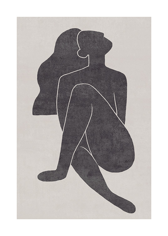 Seated Pose Black No1 Poster / Illustrazioni presso Desenio AB (13801)