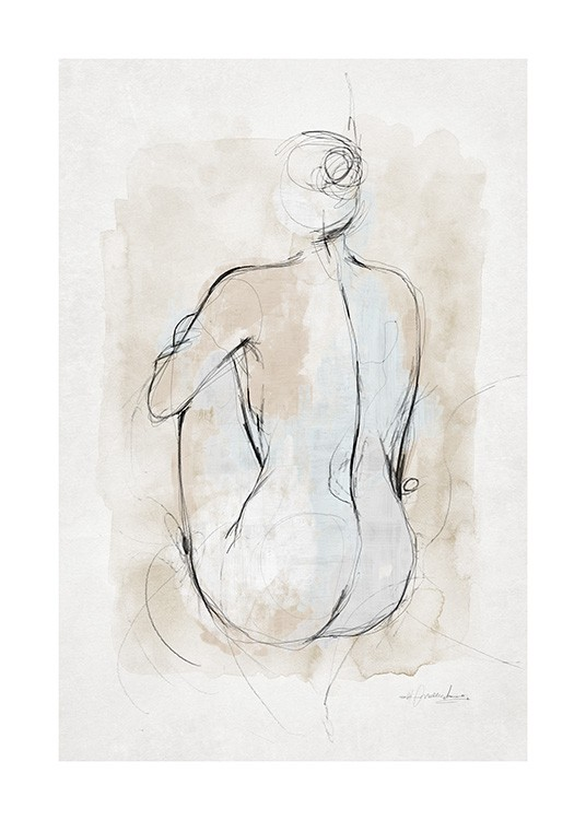 Abstract Body Sketch No1 Poster - Corpo astratto - Desenio.it