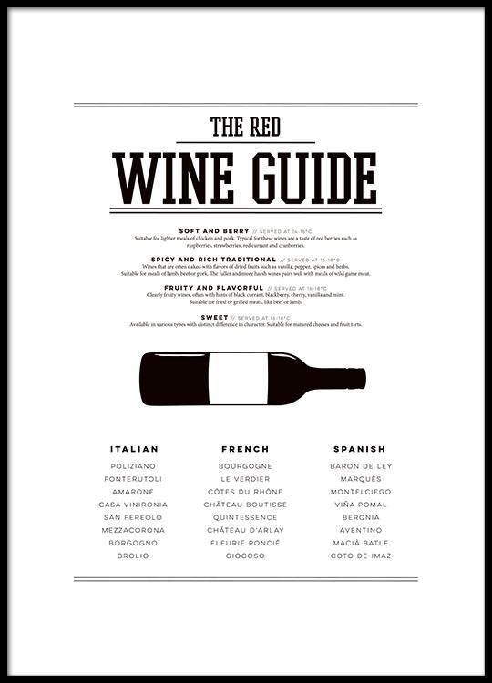 Poster Red wine guide | Poster per la cucina vino | Manifesti e ...