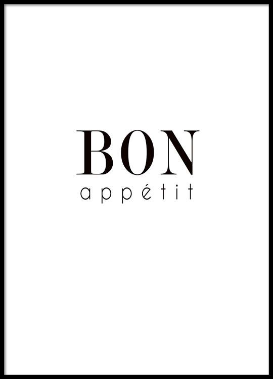 Quadro per la cucina in bianco e nero| poster con il testo Bon ...