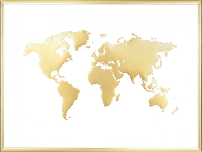 Mappa del mondo poster quadro quadri con oro desenio - Mappa del mondo contorno ks2 ...