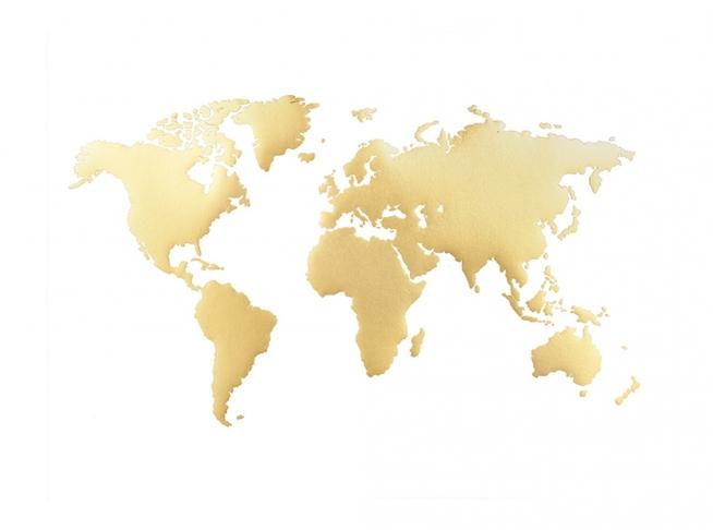 Cartina Del Mondo On Line.Mappa Del Mondo Poster Quadro Quadri Con Oro Desenio It