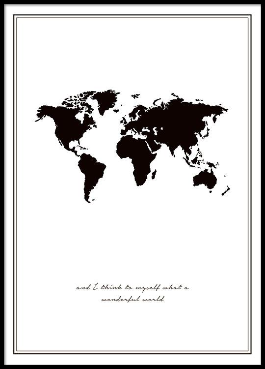 Quadro con la mappa del mondo poster in bianco e nero for Mappa mondo bianco e nero