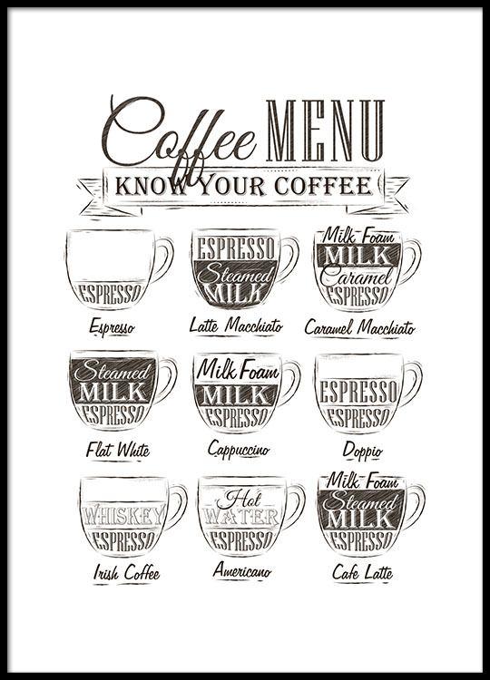 Poster per la cucina con il menu del caffè | Manifesti e quadri ...