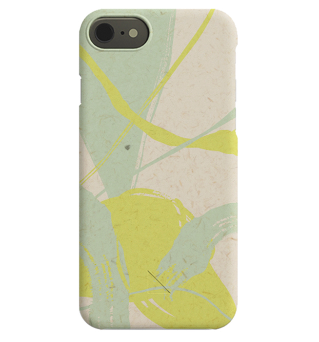 – Cover iPhone con soggetto astratto giallo, beige e verde menta