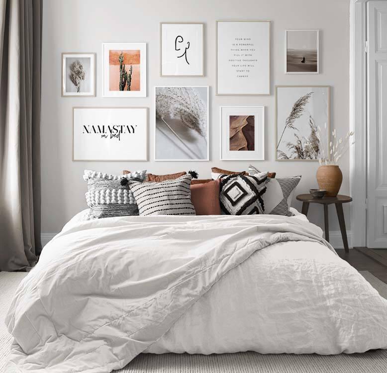 Gallerie a parete di quadri per la camera da letto | Desenio.it